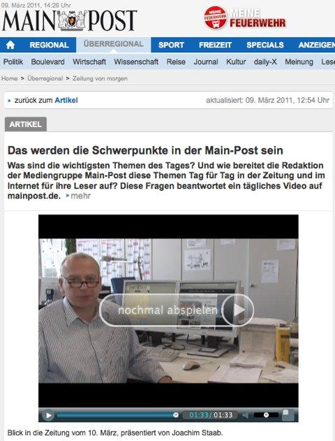 Freakshow: Mainpost präsentiert die Nachrichten von heute für morgen also von gestern im Video